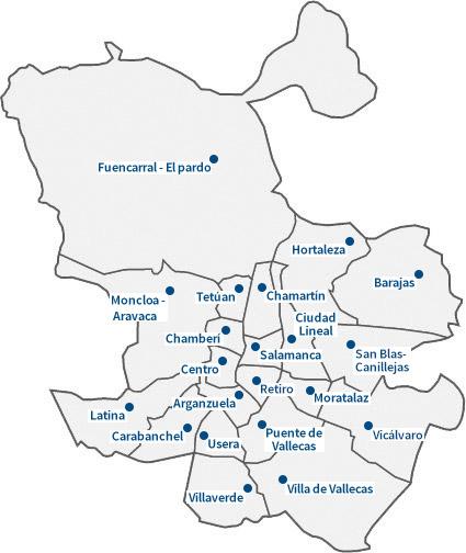 Mapa distritos Madrid